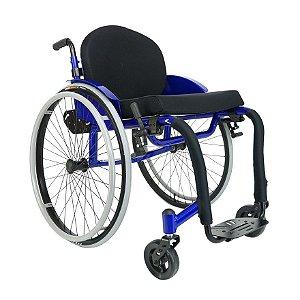 Cadeira de rodas MB4 com apoio de braço tubular - COR VERMELHA