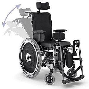 Cadeira de Rodas Reclinável AVD com Cinto Peiteira  - PRETO - 40 CM