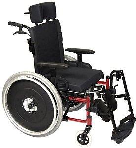 Cadeira de Rodas Reclinável AVD com Cinto Peiteira  - VERMELHO - 44 CM