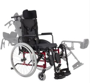 Cadeira de Rodas Reclinável MA3R - VERMELHO - 44 CM