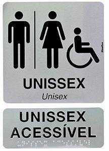Kit placas alumínio em braille - ACESSÍVEL UNISSEX