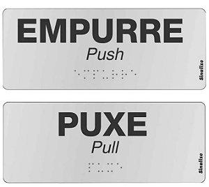 Kit placas alumínio em braille - PUXE E EMPURRE