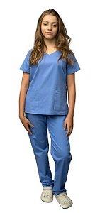 Pijama Cirúrgico em Brim Leve - Feminino - P