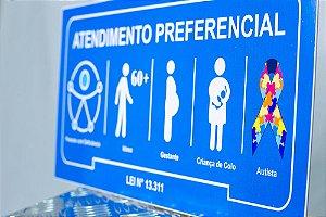 Placa Atendimento Prioritário Autismo 40x24 cm Chapa 2 mm