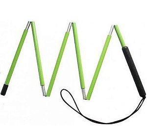 Bengala dobrável verde para baixa visão - 1,25 METRO