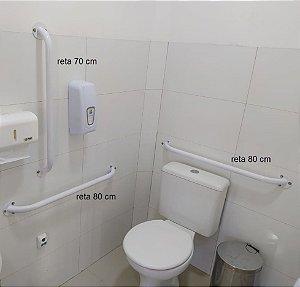 Kit de barras para banheiro acessível - Barras retas e de lavatório