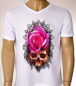 Camisetas Masculinas Flor Skull