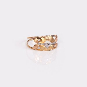 Anel Tricolor 2 Flores - Ouro 18K