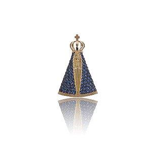 Pingente Nossa Senhora Aparecida com Zircônias Azuis - Ouro 18K