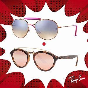 Kit Óculos de Sol Ray-Ban - RB3540 198/7X56 e RB4257 60922Y53