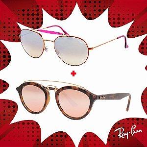 Kit Óculos de Sol Ray-Ban - RB3540 198/9U56 e RB4257 60922Y53