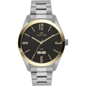 Relógio Technos Prateado e Dourado Masculino - 2115MNV/1P