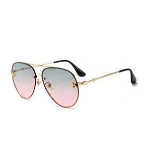 Óculos de sol degradê rosa , estilo aviador. Unissex. Coleção Bee – by Carol Schutz