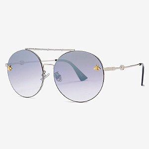 Óculos de sol degradê Cinza com leve espelhado, Redondo com Travessão- Coleção Bee – by Carol Schutz