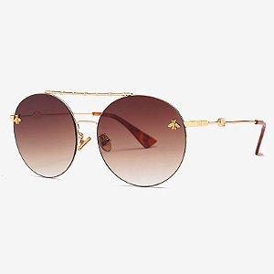 Óculos de sol degradê Marrom, Redondo com Travessão- Coleção Bee – by Carol Schutz