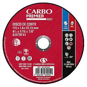 Disco de Corte T41 Carbo Premier para Aço 115 x 1,6 x 22,23 mm
