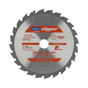 Caixa com 5 Disco de Serra para cortar Madeira e Compósitos Norton Clipper de 230mm com 24 dentes