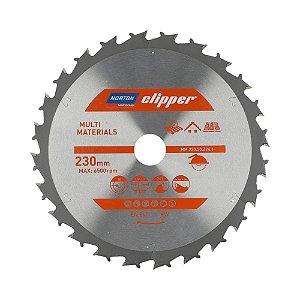 Caixa com 5 Disco de Serra para cortar Madeira e Compósitos Norton Clipper de 230mm com 24 dentes Multimateriais