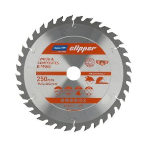 Caixa com 5 Disco de Serra para cortar Madeira e Compósitos Norton Clipper de 250mm com 36 dentes