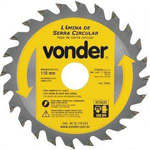 Lâmina de serra circular com dentes de metal duro/vídea, 110 mm x 20 mm, 24 dentes, VONDER