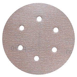 Disco de Lixa Pluma A275 Com 6 Furos Grão 220 - 152 mm