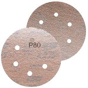 Disco de Lixa Pluma A275 Com 6 Furos Grão 80 - 152 mm