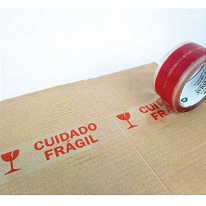 Fita Transparente Acrílica Personalizada PP47 (Micras) - Cuidado Frágil - 48 x 50 m