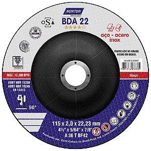 Disco de Corte BDA22 Azul com Depressão 115 x 2 x 22,23 mm Caixa com 25