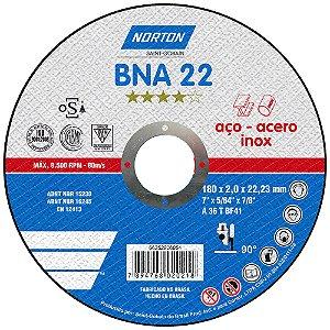 Caixa com 25 Disco de Corte BNA22 Azul 180 x 2 x 22,23 mm