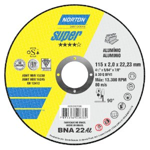 Caixa com 25 Disco de Corte BNA22 Super Alumíno 115 x 2 x 22,23 mm