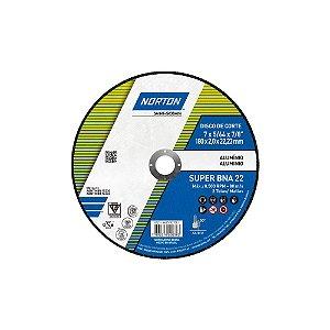 Caixa com 25 Disco de Corte BNA22 Super Alumíno 180 x 2 x 22,23 mm