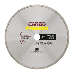 Disco de Corte Carbo Primier Diamantado Contínuo 230 x 22,23 mm Caixa com 5