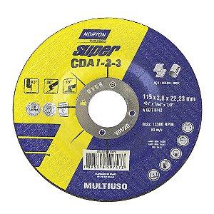 Disco de Corte CDA123 Super Aços Multiuso 115 x 2,8 x 22,23 mm Caixa com 25