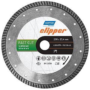 Disco de Corte Clipper FastCut Diamantado Supreme 230 x 25,4 mm Caixa com 3