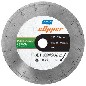 Disco de Corte Clipper Porcelanato Diamantado Supreme 230 x 25,4 mm Caixa com 3
