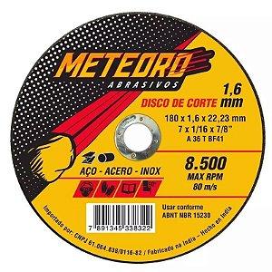 Disco de Corte Fino Meteoro 180 x 1,6 x 22,23 mm Caixa com 25