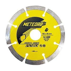 Caixa com 10 Disco de Corte Meteoro Segmentado Diamantado 105 x 7 x 20 mm