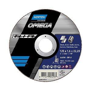 Caixa com 25 Disco de Corte Omega 125 x 1,6 x 22,23 mm