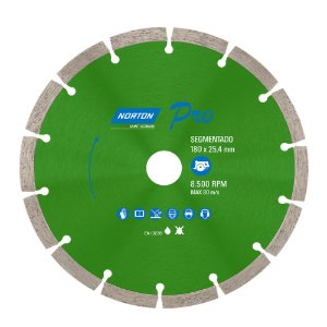Caixa com 5 Disco de Corte Pro Segmentado Diamantado 180 x 25,4 mm