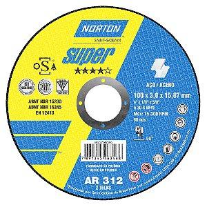 Disco de Corte Super Aços AR312 100 x 3 x 15,87 mm Caixa com 25