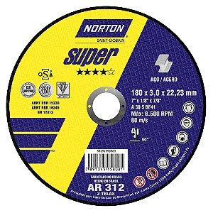 Disco de Corte Super Aços AR312 180 x 3 x 22,23 mm Caixa com 25