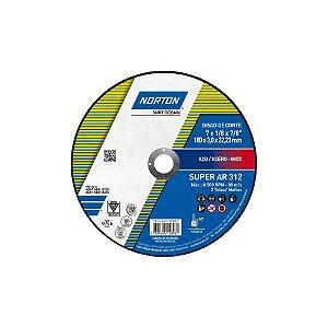 Caixa com 25 Disco de Corte Super Aços AR312 180 x 3 x 22,23 mm