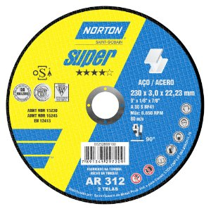 Disco de Corte Super Aços AR312 230 x 3 x 22,23 mm Caixa com 25