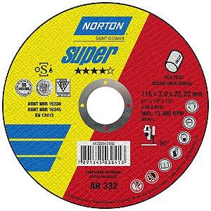 Caixa com 25 Disco de Corte Super Inox AR332 115 x 3 x 22,23 mm