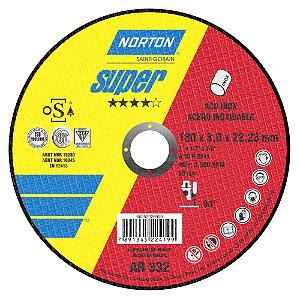 Caixa com 25 Disco de Corte Super Inox AR332 180 x 3 x 22,23 mm