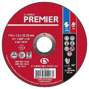 Caixa com 25 Disco de Corte T41 Carbo Premier para Aço 115 x 1,0 x 22,23 mm