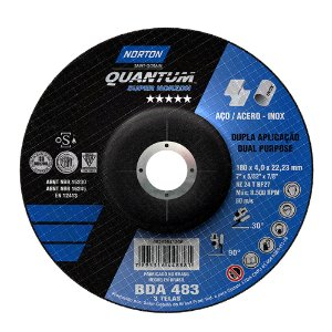 Caixa com 10 Disco de Desbaste Quantum BDA483 180 x 4 x 22,23 mm