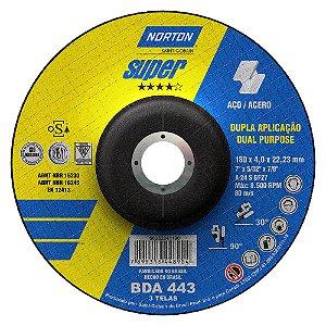 Caixa com 10 Disco de Desbaste Super Aços BDA443 Dupla Aplicação 18 x 4 x 22,23 mm