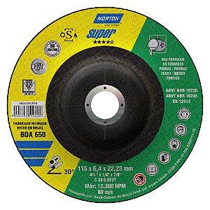 Caixa com 10 Disco de Desbaste Super Não Ferrosos BDA650 115 x 6,4 x 22,23 mm