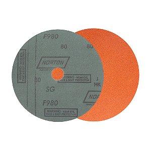 Caixa com 25 Disco de Lixa Fibra Blaze F980 Grão 80 180 x 22 mm